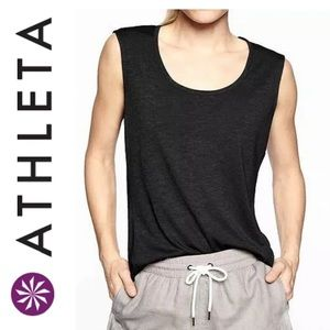 Athleta Breezy Scoop Neck Black Muscle Tank